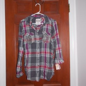 MUDD Grey and Magenta Sequined Flannel